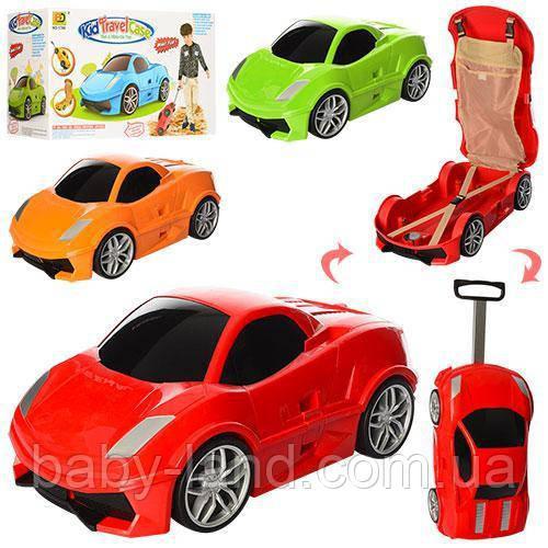 Чемодан машина пластиковый на колесах MK 1212 Оранжевый