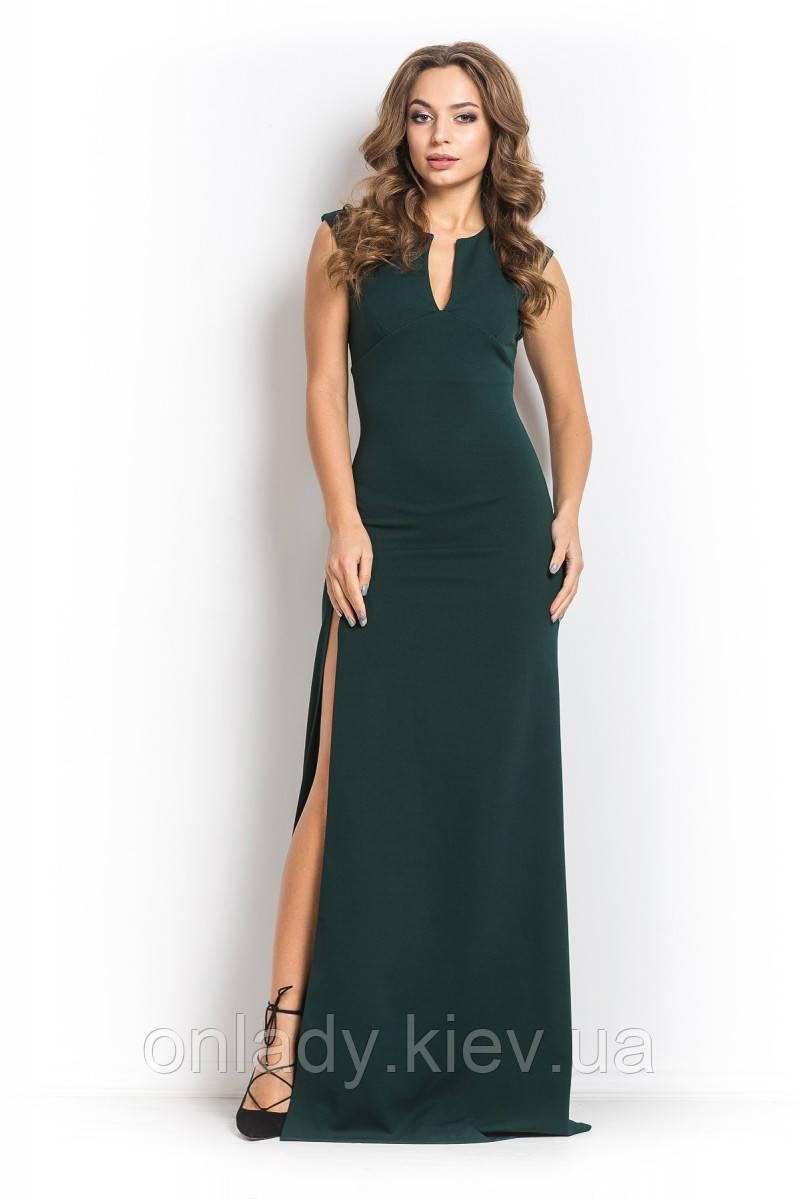 bb25e9d9e50 Зелёное длинное платье без рукавов (S
