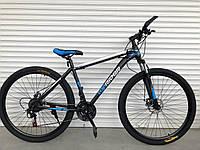 Спортивный велосипед TopRider-611 29 дюймов - 19рама. Дисковые тормоза. Синий.