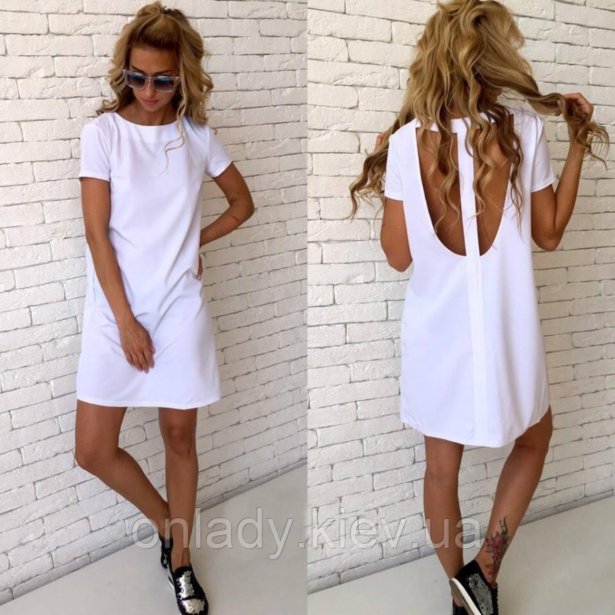 1e4c95ce327f543 Белое короткое платье с открытой спинкой прямого силуэта (S/M, M/L ...