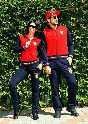Стильный спортивный костюм парный  т.синий+ красный