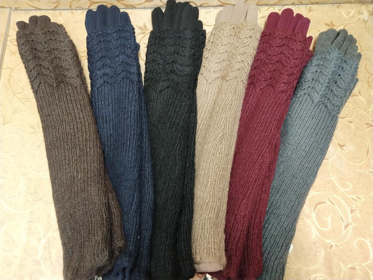 (50cm)Длинные вязание шерсти трикотаж  женские перчатки только оптом