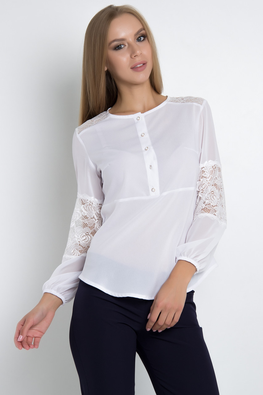 Женственная комбинированная блузка свободного силуэта с длинным рукавом