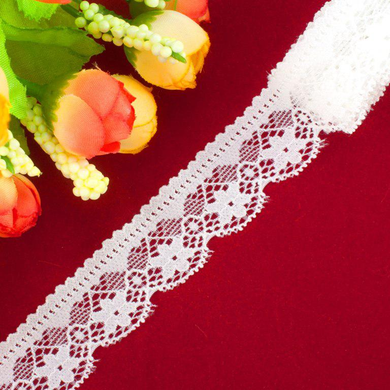 "Кружево стрейчевое, эластичноее ""030"", ширина 2,3см (цена за 1м) Цвет - Айвори (заказ - кратно метру"