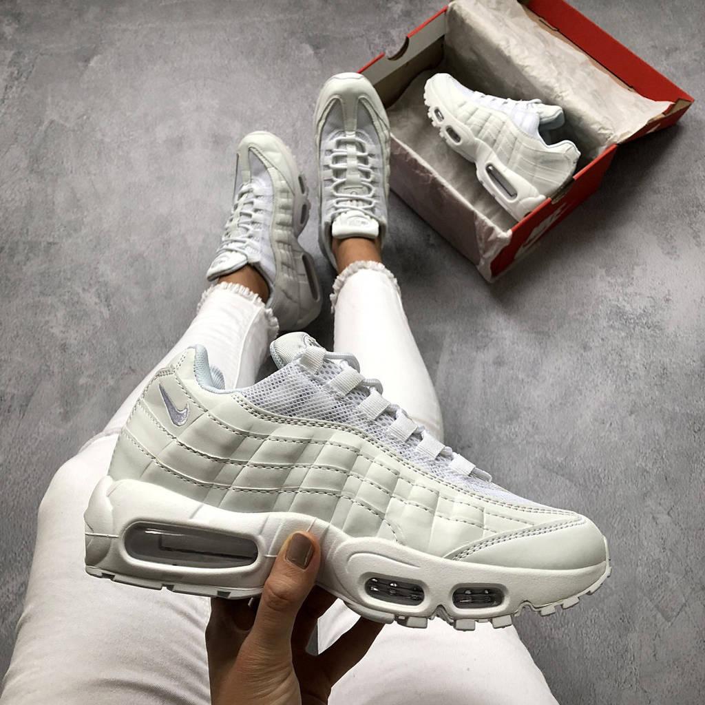 -4% Женские кроссовки Nike Air Max 95 белые кожаные ( реплика 1 в 1 оригинал ) 2925a12eba1