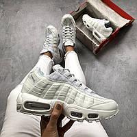 Женские кроссовки Nike Air Max 95 белые кожаные ( реплика 1 в 1 оригинал)