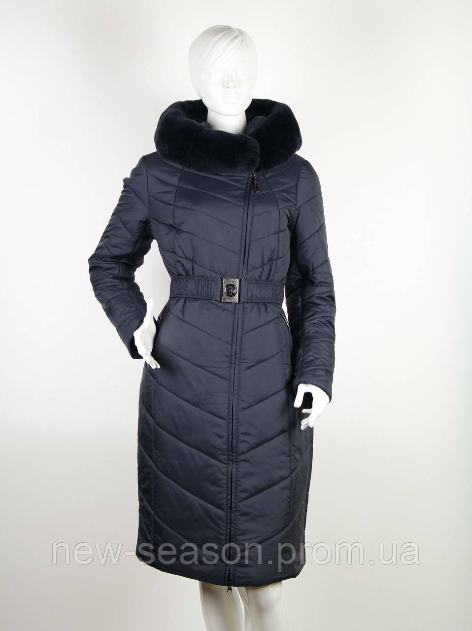 Пальто Klasika Moda на верблюжьей шерсти 1869-T-5 темно-синее