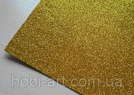 А4 Фоаміран з глітером  №  23 золотистий темний