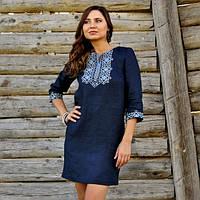 Жіноче плаття-міні з багатою вишивкою, фото 1