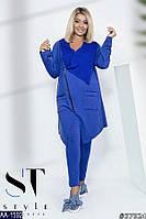 fc49ad88090 Модный спортивный костюм удлиненная мастерка-туника с косой змейкой для полных  женщин электрик