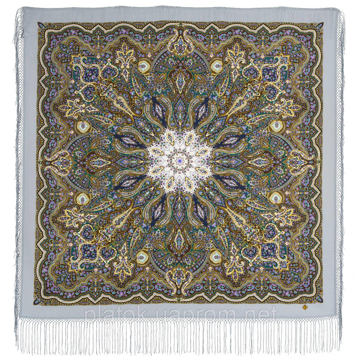 Сказочница 1763-1, павлопосадский платок шерстяной (двуниточная шерсть) с шелковой вязаной бахромой