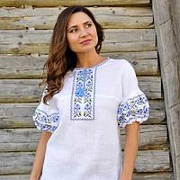 Женская вышиванка белая из натуральной ткани с коротким рукавом, фото 1