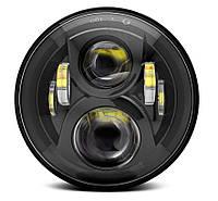 Фара мото LED 7 дюймов DL-J048DА (Black) Нива, УАЗ 469, ГАЗ 24, ВАЗ 2101, Хаммер, FJ Cruiser, w463, мото