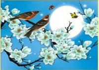 """Набор для вышивания крестиком """"Птички сидящие на сакуре при луне"""""""