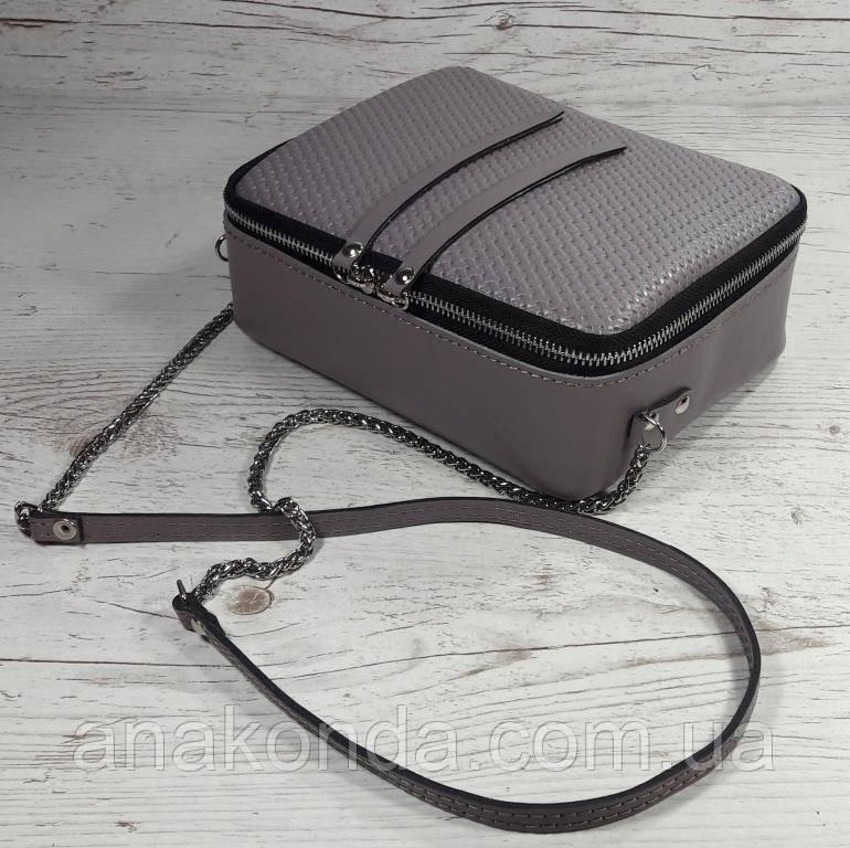 63-2 Натуральная кожа Сумка женская сиреневая кроссбоди кожаная сумочка на цепочке сиреневая сумка через плечо