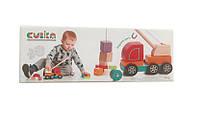 """Деревянная развивающая машинка для малышей """"Авто-кран"""" 13982 подъемный кран ТМ Cubika / Royaltoys"""