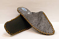 Домашние войлочные эксклюзивные тапочки для мужчин с горчичным шнурком, фото 1