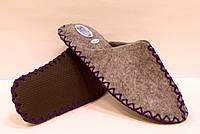 Тапочки мужские из войлока ручной работы с фиолетовым шнурком, фото 1