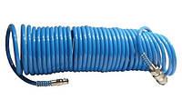 Шланг синий спиральный полиуретановый 6 х 8 мм 10м Intertool PT-1707