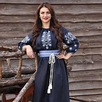 Темно-синее платье с богатой вышивкой, фото 1
