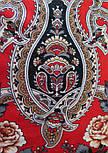 Река любви 1773-2, павлопосадский платок шерстяной (двуниточная шерсть) с шелковой вязаной бахромой, фото 8