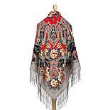 Река любви 1773-2, павлопосадский платок шерстяной (двуниточная шерсть) с шелковой вязаной бахромой, фото 10