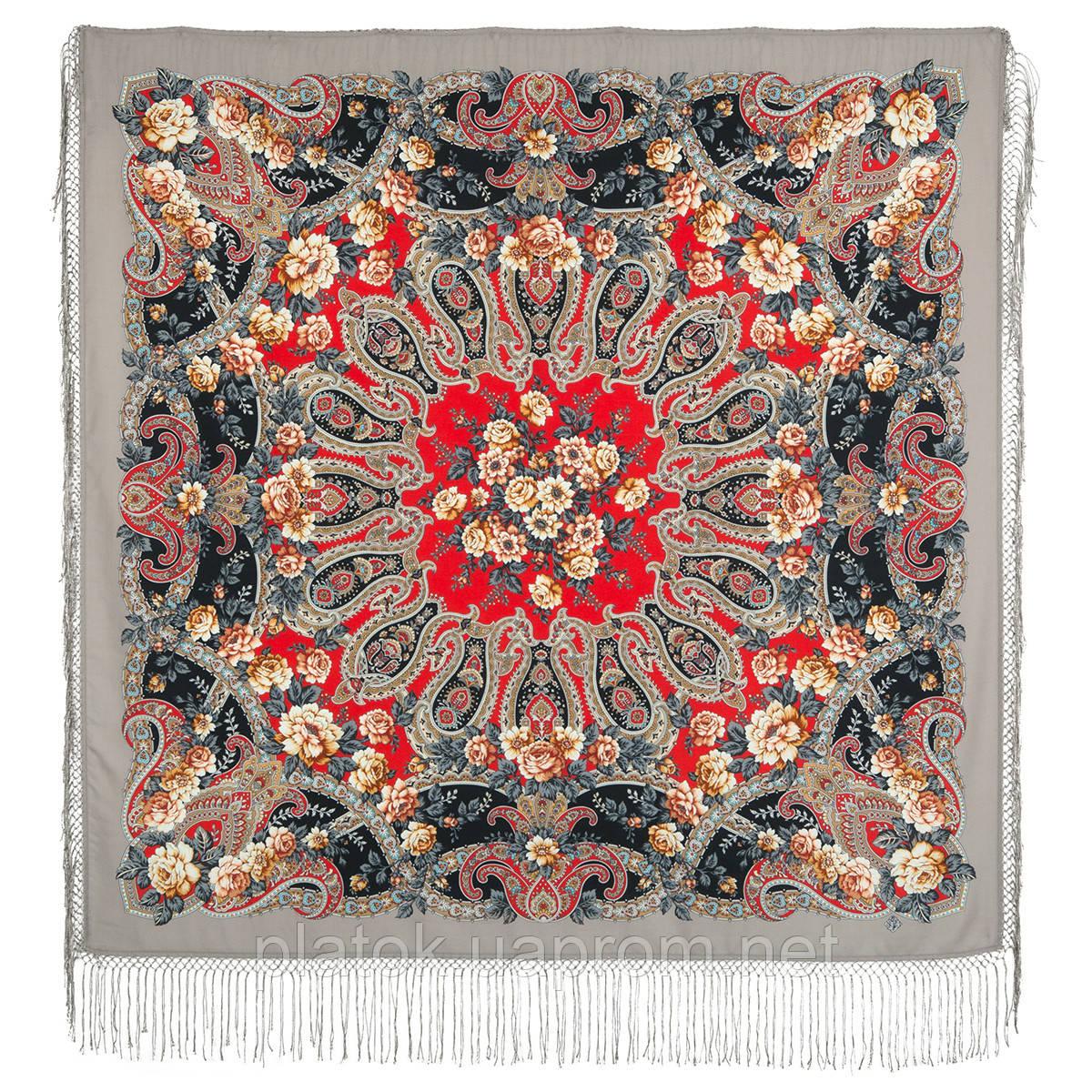 Река любви 1773-2, павлопосадский платок шерстяной (двуниточная шерсть) с шелковой вязаной бахромой