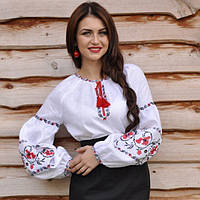 Женская вышиванка белая с маками на льне, фото 1