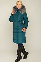 Женское удлиненное зимнее пальто из плащевки,с мехом 44-58