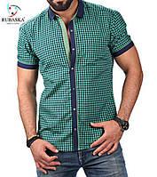 Мужская клетчатая зеленная рубашка от производителя M