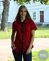 Блуза с коротким рукавом бордовая с черным