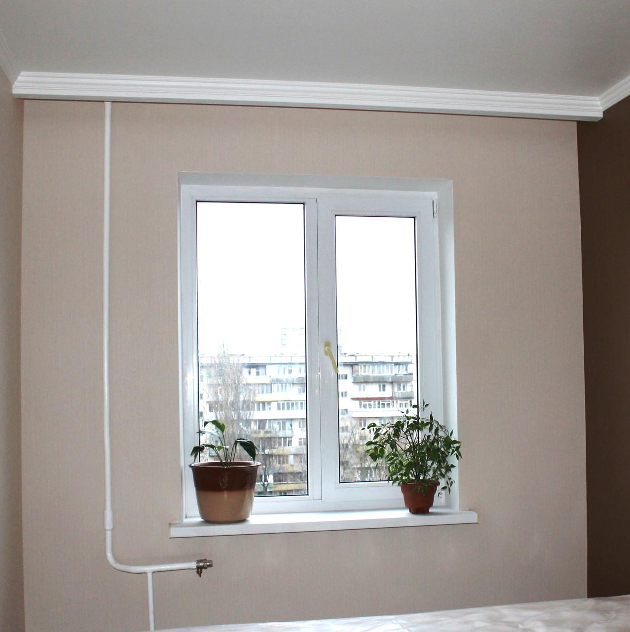 Гипсокартонные откосы на двух-створчатое окно