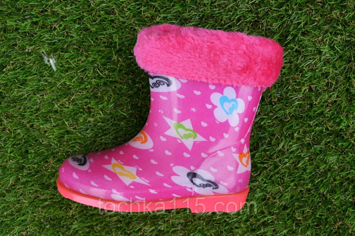 Детские резиновые сапоги розовые 22 - 30, фото 1