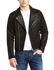 Чоловіча натуральна шкіряна косуха Umberto leather Jacket чорного кольору !Solid в розмірі M