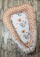 """Гнездышко-кокон для новорожденного """"Персиковые слоники"""""""