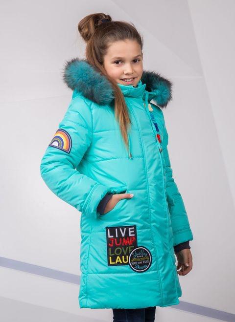 Детский зимний пуховик для девочки на синтепухе, ветрозащитная планочка №8, 134-152р.