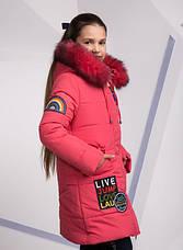 Детский зимний пуховик для девочки на синтепухе, ветрозащитная планочка №8, 134-152р., фото 3