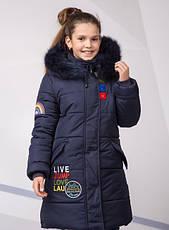 Детский зимний пуховик для девочки на синтепухе, ветрозащитная планочка №8, 134-152р., фото 2
