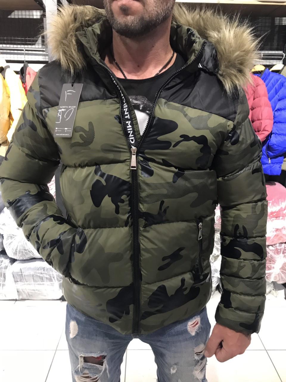 Мужские брендовские куртки зима миллитари с капюшоном North River в  ассортименте оптом Турция 919bbf1af7dc4
