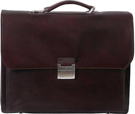 """Мужской  кожаный портфель с отделением под ноутбук до 15,4"""" Vip Collection 118B коричневый"""