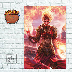 Постер Chandra - Torch of Defiance. MTG, МТГ, Магия, Чандра, ККИ. Размер 60x40см (A2). Глянцевая бумага