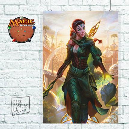 Постер Nissa - Natures Artisan. MTG, МТГ, Магия, Нисса, ККИ. Размер 60x40см (A2). Глянцевая бумага, фото 2