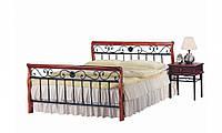 Кровать 1,6 AT-9041 QB кантри ортопедическая  решетка 2100x1640x1010 орех Welovemebel