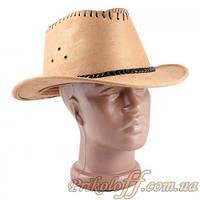 Шляпа ковбойская с небольшими полями, замшевая бежевая