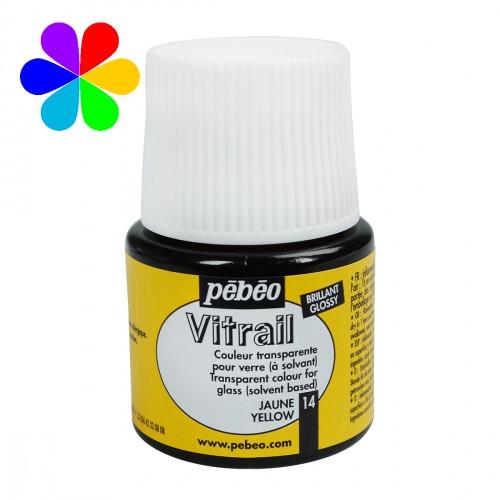 Краска витражная Пебео Pebeo Vitrail Франция, 45 мл, прозрачная, желтый 14
