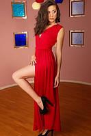 Платье красное разрез на ноге Золото, фото 1