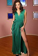 Платье зеленое разрез на ноге Золото, фото 1