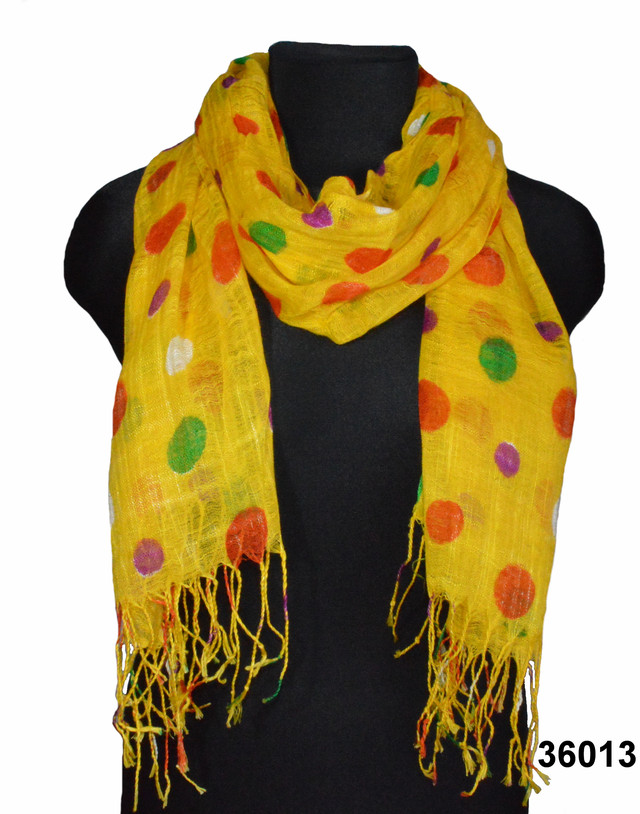 Желтый льняной шарф в горохи фото 1