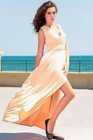 Платье бежевое разрез на ноге Золото, фото 1