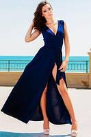 Платье синее разрез на ноге Золото